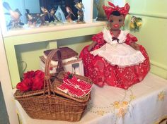 Toaster cover doll, Dorothy...in her place of honor!  I smile to see how cute she is...