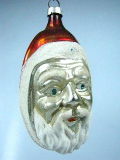 Vintage Santa Belsnickle Mica Head German Mercury Glass Christmas Ornament | eBay