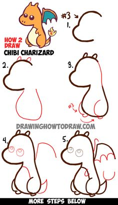 Learn How to Draw a Cute Baby Chibi Charizard from Pokemon in Simple Step by Step Drawing Lesson