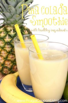 Delicious fresh milkshake mixed out of several fresh fruit. Summer Smoothie Recipe - Pina Colada Smoothie on Frugal Coupon Living.