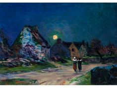 Village in the Moonlight - Maxime Maufra 1907 French 1861-1918 Oil on canvas. 46.5 x 65 cm.
