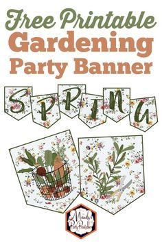 Spring is the time to have a delightful Gardening Party. Mandy's Party Printables has these free gardening party printables for you HERE! Free Baby Shower Printables, Party Printables, Free Printables, Baby Shower Cupcake Toppers, Printable Banner, Free Birthday, 30th Birthday, Gardening, Teacher Appreciation