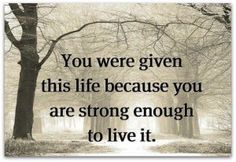 You were given this life because you are strong enough to live it. - Something to think about! Positive Quotes, Motivational Quotes, Funny Quotes, Inspirational Quotes, Strong Quotes, Uplifting Quotes, True Quotes, Great Quotes, Quotes To Live By