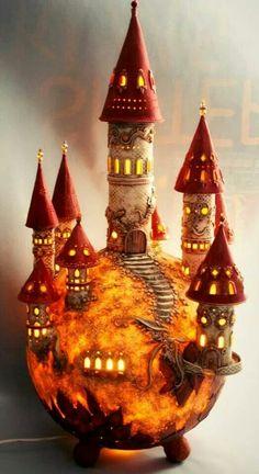 Fairy Castle: polymer clay over a gourd.