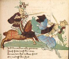 """Rudolf <von Ems> Willehalm von Orlens — Straßburg - """"Werkstatt von 1418"""", um 1420 Cod. Pal. germ. 323 Folio 140r"""