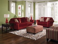 GREEN & RED LIVING ROOM Bold red makes a statement against fresh ...
