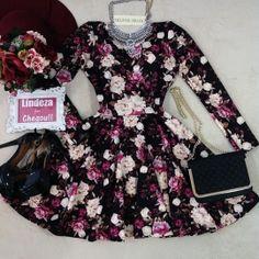 Vestido Mariana  NEOPRENE  C/ BOJO/ MANGA LONGA  ( Estampa Flowers Luvre/ Fundo Preto)