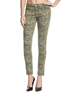 7-Zip Camo-Print Mid-Rise Jeans | GUESS