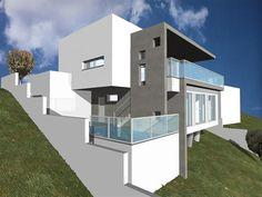 VIVIENDAS URMED Villa Design, Modern House Design, Houses On Slopes, Mountain Villa, Hillside House, Underground Homes, Architecture Portfolio, House 2, Plan Design
