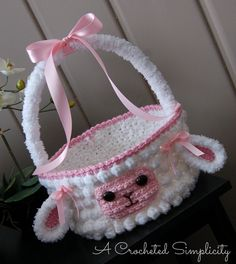 """Crochet Pattern: """"Lily or Lyle"""" the Lamb Easter Basket by A Crocheted Simplicity…"""