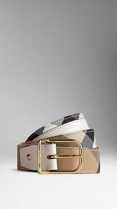 Burberry White House Check Belt - House check cotton twill belt with sartorial leather trim.  Polished metal buckle.  Discover more accessories at Burberry.com