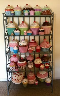 My Cupcake Collection so far.Part 1 Cupcake Cookie Jar, Cookie Jars, Kitchen Jars, Cute Kitchen, Cupcake Kitchen Decor, Cozinha Shabby Chic, Antique Hoosier Cabinet, Cupcake Collection, Cake Holder