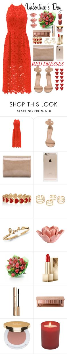 """Hot Red Dress"" by saramsilva ❤ liked on Polyvore featuring Cynthia Rowley, Gianvito Rossi, Jimmy Choo, Incase, Alison Lou, HomArt, Burberry, Elizabeth Arden, Urban Decay and Isaac Mizrahi"