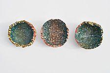 "Blue Wall Flower Triptych by Mira Woodworth (Art Glass Wall Sculpture) (7"" x 14"")"