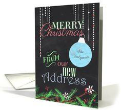 Merry Christmas from Newlyweds, New Address-Chalkboard Design card by Amanda Jorjorian
