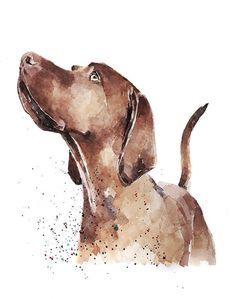 Flat Coated Retriever Hund 20x25 Kunstdruck Aquarell Poster Art Print