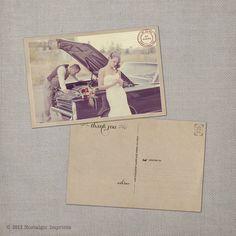 Vintage Wedding Thank You Postcard  the Grace by NostalgicImprints, $38.00