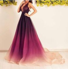 Gorgeous purple light purple and off whit gown