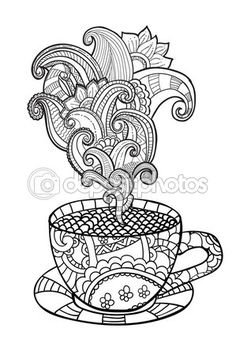 Vector coffee or tea cup with abstract ornaments. — Stock Illustration #106640096