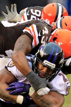Ray Rice, Baltimore Ravens. How many Browns does it take to tackle Ray Rice?