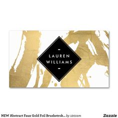 Fully Customizable Gold Brushstrokes Business Card Template for Makeup Artists, Nail Artists, Interior Designers, Stylists and more.