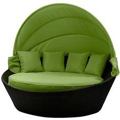 Sonneninsel Rattanbett Sonnenschutz Mit Abdeckplane Witterungsbeständig Grün