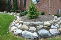 I have not seen this previously. Yard Landscaping I have not seen this previously. Landscaping With Boulders, Small Yard Landscaping, Mailbox Landscaping, Landscaping Ideas, Decorative Garden Stones, Rock Yard, Garden Stepping Stones, Tall Plants, Landscape Design