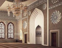 El Damam West Mosque Interior Design on Behance Mosque Architecture, Interior Architecture, Interior Design, Gothic Architecture, Ancient Architecture, Ceiling Light Design, Beautiful Mosques, Prayer Room, Modern Design