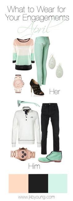 What to wear engagement couples session April, spring time in mint and peach