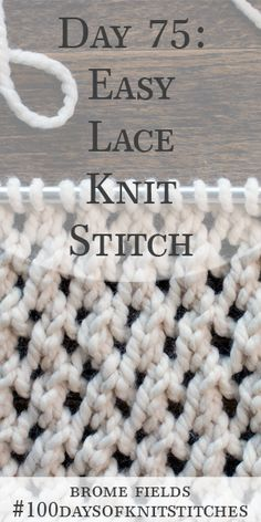 Learn how to knit a Beginner Lace Knit Stitch in today's video tutorial by Brome Fields. Lace Knitting Stitches, Lace Knitting Patterns, Knitting Blogs, Easy Knitting, Knitting For Beginners, Crochet Pattern, Knitting Ideas, Learn How To Knit, How To Purl Knit