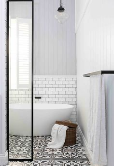 Small bathroom with shower and bath, black and white floor tiles and steel frame on shower. door. Bathroom With Shower And Bath, Beach House Bathroom, Bathroom Ideas, Shower Screen, Shower Door, Wall Hung Vanity, Bathroom Design Luxury, Australian Homes, Bathroom Cleaning