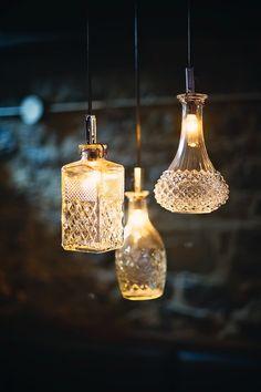 Bottle Art, Bottle Crafts, The Great Outdoors, Lightning, Lanterns, Glass Art, Design Inspiration, Diy Projects, Ceiling Lights