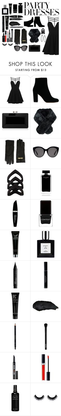 """""""#PolyPresents: Party Dresses"""" by aesthetic-sadness ❤ liked on Polyvore featuring Topshop, Judith Leiber, Jeanne Simmons, Moschino, Gucci, Narciso Rodriguez, Max Factor, Context, NYX and Christian Dior"""