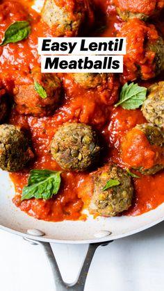 Tasty Vegetarian Recipes, Lentil Recipes, Vegan Dinner Recipes, Spicy Recipes, Whole Food Recipes, Cooking Recipes, Vegetarian Entrees, Healthy Recipes, Vegetarian Meatballs