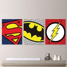 Superhero Logo Trio Print Set - Art. Decor. Nursery. Boy. Superman Flash Batman. Toddler. Bedroom. Kid. Child. - You Pick the Size (NS-438) on Etsy, $22.19 AUD