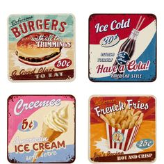 "PAST PERFECT Set of 4 ""American Diner"" coasters Butlers England American Butlers coasters Diner england Perfect Set is part of Retro diner - Pin Up Vintage, Vintage Diner, Vintage Kitchen, Vintage Signs, 1950 Diner, Retro Diner, American Diner Kitchen, 50s Diner Kitchen, Cafeteria Retro"