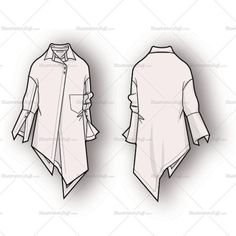 Women's long sleeve button down shirt with asymmetrical hem and placket, set on chest pocket, exaggerated cuffs and dropped armhole. Fashion sketch includes bot