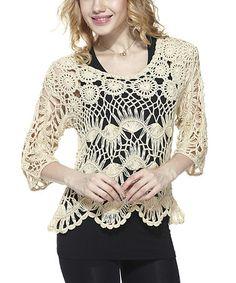 Look at this #zulilyfind! Beige Hairpin Crochet Top by Simply Couture #zulilyfinds