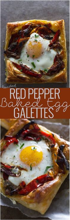 Roasted Red Pepper Baked Egg Galettes - So flavorful and perfect for brunch! #eggs #brunch #breakfast #galettes | Littlespicejar.com