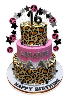 """Sweet 16 Leopard Print Cake Kismet Caterers, 1995-99 Westchester Avenue, The Bronx, New York, hosted a party for a 16th birthday. One hundred guests were invited to this superb restaurant. Their motto, """"The Best Kept Secret in the Bronx"""". Their priority, is to provide an atmosphere of warmth, personal appeal, food that tantalizes the taste buds and to provide personal attention. http://cmnycakes.com/gallery2/v/Cakes+For+All+Occasions/Sweet+16+Leopard+Print+Cake.html"""