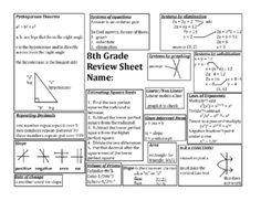 Printables 8th Grade Math Review Worksheets the ojays math and for on pinterest 8th grade eog review sheet from dawnmbrown teachersnotebook com 1 page