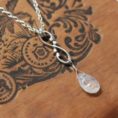 Moonstone drop necklace, June birthstone necklace, silver infinity necklace, moonstone briolette necklace, gift for wife wrought