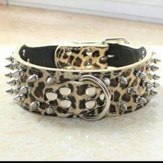 """Golden Leopard Leather Spiked Dog Collar Brand New and High Quality. 2 inch Wide, 5 holes adjustable. Soft PU Leather that allows light and comfort fit. Good resistant to rust, maintain permanent brightness. Collars covered with three rows of rounded-tip decorative spikes edged by rows of smooth button studs. This pet collar is a great fun fashion accessory for your pet. (S) 5x56cm/ 2x22"""", Suitable neck girth: 43-51cm/ 17-20"""" Other"""