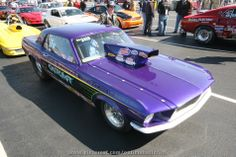 Purple Ford Mustang Drag Car