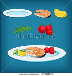 Vector plate with grilled fish, lemon and vegetables. All elements are isolated. Perfect for cooking games