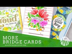 (995) More Bridges Card Ideas - YouTube Card Making Inspiration, Making Ideas, Bridge Card, Jennifer Mcguire Ink, Love You To Pieces, Miss You Cards, Interactive Cards, Fun Fold Cards, Card Tutorials