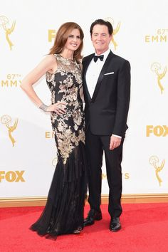 Desiree Gruber (L) and actor Kyle MacLachlan attend the 67th Annual Primetime Emmy Awards at Microsoft Theater on September 20, 2015 in Los Angeles, California.
