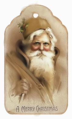CHRISTMAS VINTAGE SANTA PRINTABLE TAG Noel Christmas, Victorian Christmas, Christmas Gift Tags, Christmas Design, Xmas Greeting Cards, Vintage Greeting Cards, Vintage Postcards, Christmas Tags Printable, Printable Tags