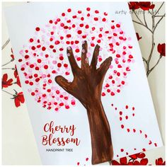 Arty Crafty Kids | Art | Cherry Blossom Handprint Tree