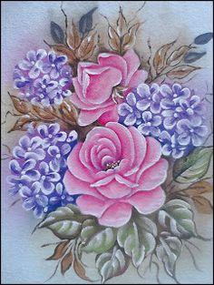Simone Pinturas & Crochês: MAIS ALGUMAS PINTURAS... Bed Sheet Painting Design, Acrylic Painting Techniques, One Stroke Painting, Rose Art, Sketch Design, Paint Designs, Beautiful Roses, Paper Flowers, Decoupage